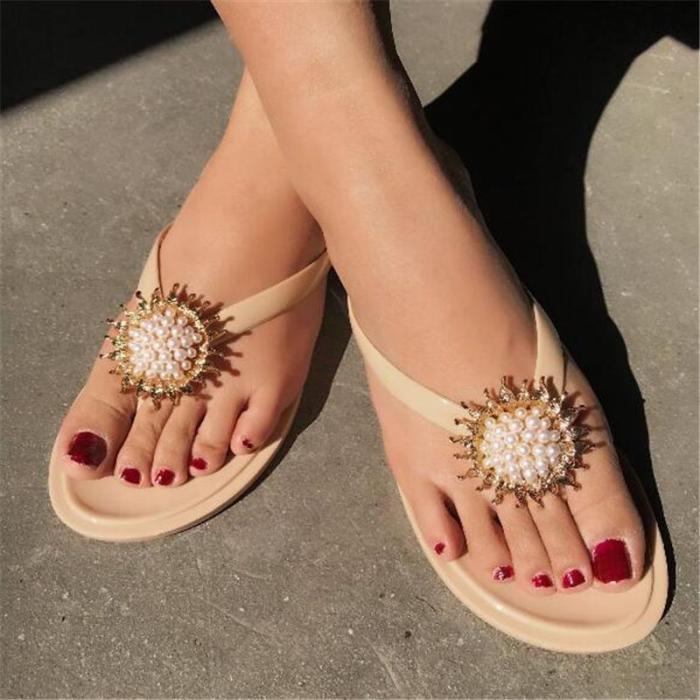 Women Roman Casual sunflower Slip On Flat Heel Sandals