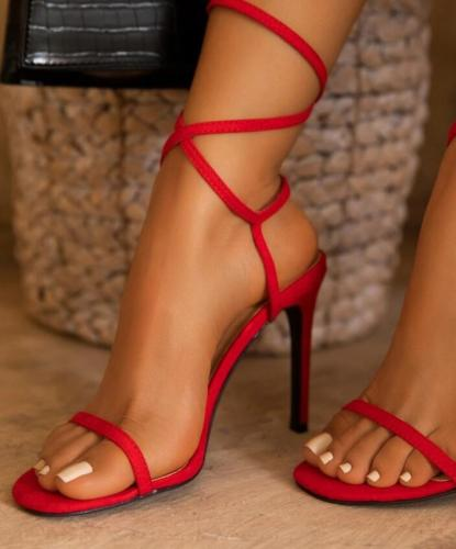 Strappy Stiletto Heel Open Toe Buckle Sandals