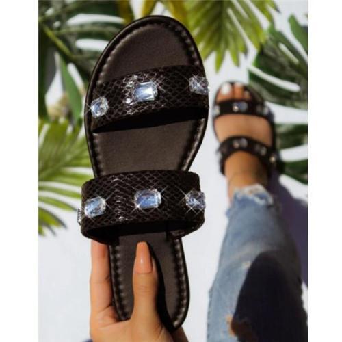 Women's Slip-On Flip Flop Flat With Rhinestone Slippers