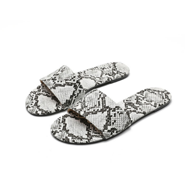 Slip-On Block Heel Serpentine Flip Flop Rubber Casual Slippers
