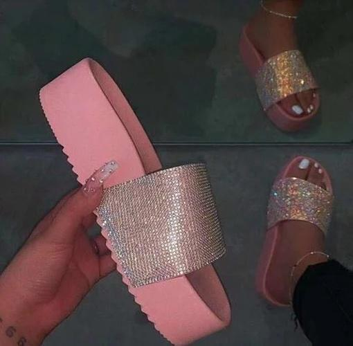 Pi Clue Holiday Rhinestone Artificial Leather Low Heel Slippers