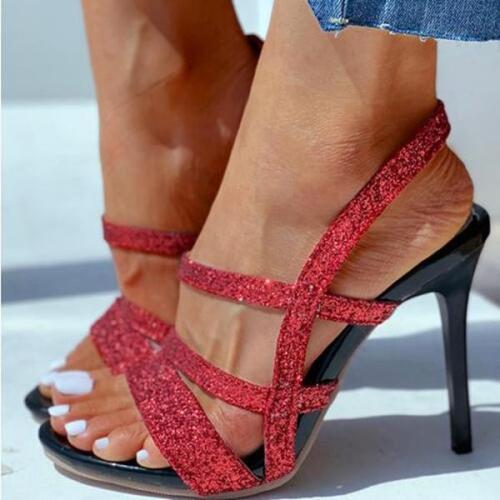 Solid Glitter Cutout Stiletto Heel