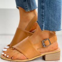 Toe Post Slingback Chunky Heeled Sandals