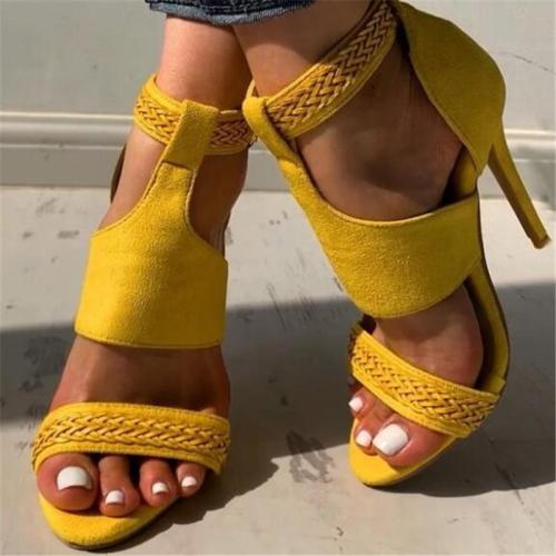 Zipper Heel Covering Stiletto Heel Open Toe Plain Woven Sandals