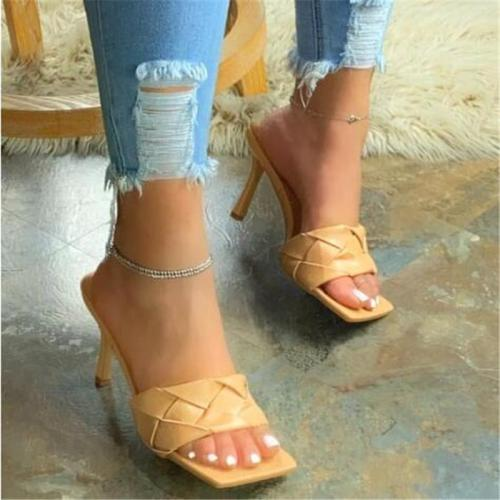Fashion Square Woven Sandals Slippers
