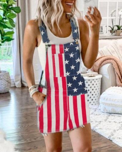 Women Casual Denim Romper Mini Dress