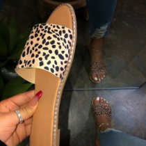 Woman Fashion Slides Flip Flop String Bead Flat Outdoor Leopard Sandals