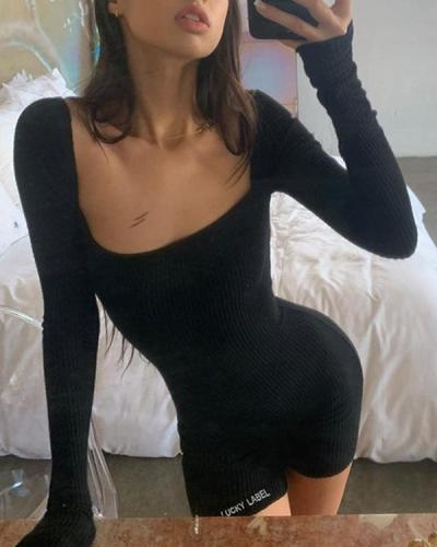 Long-sleeved Square-collar Backless Romper