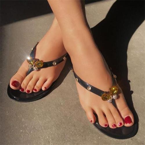 Women Bright Diamond Butterfly Flip-flop Flats Slippers Shoes