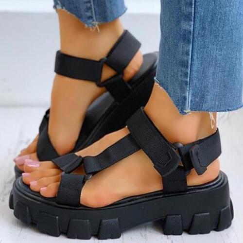 Solid Velcro Flatform Sandals