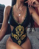 Women Summer Halter Printing Swimsuit
