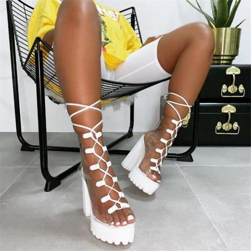 Neon PVC Jelly Sandals Open Toe Lace up Heels Sandals