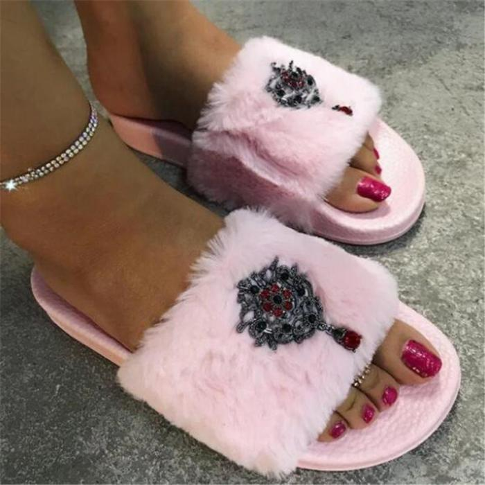 Flip Flop Flat With Slip-On Rhinestone Casual Slippers