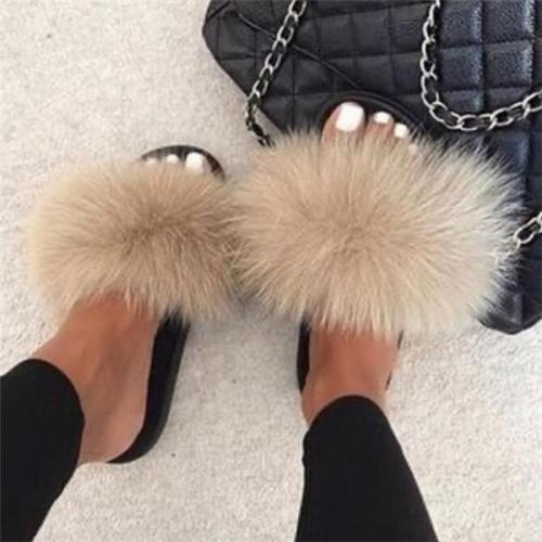 Popular Beige Gray Fur Slides Slippers