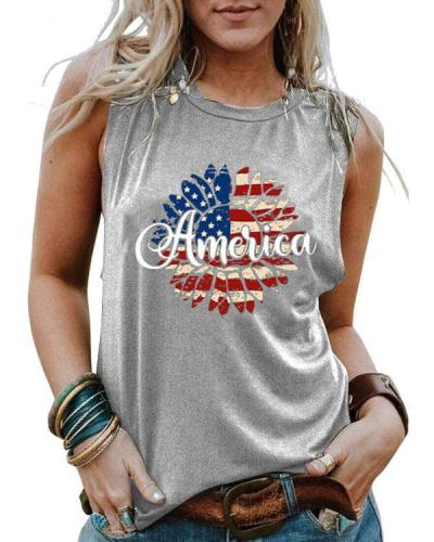 Sunflower Flag America Printed Sports Vests