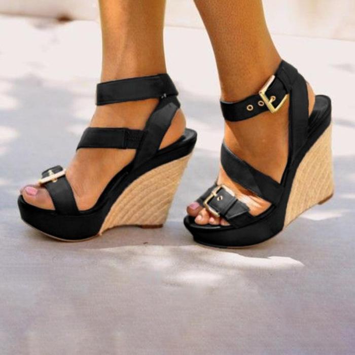 Women Platform Open Toe Wedge Sandals Casual Comfort Adjustable Buckle Shoes
