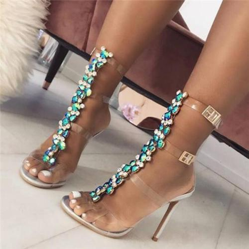 Gem sexy crystal with high heel sandals