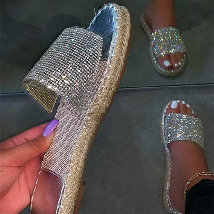 Fashion Stylish Clear Strap Rhinestones Slippers