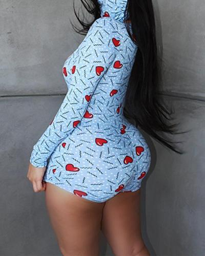 Summer Sexy Bodycon Long Sleeve Print Romper With Mask