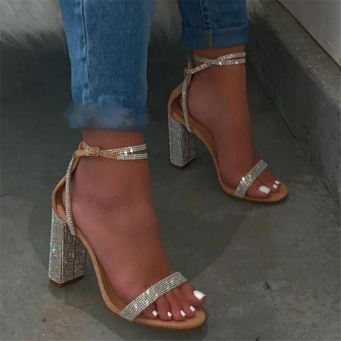 Chunky Heel Open Toe Line-Style Buckle Ankle Strap Rhinestone Casual Sandals