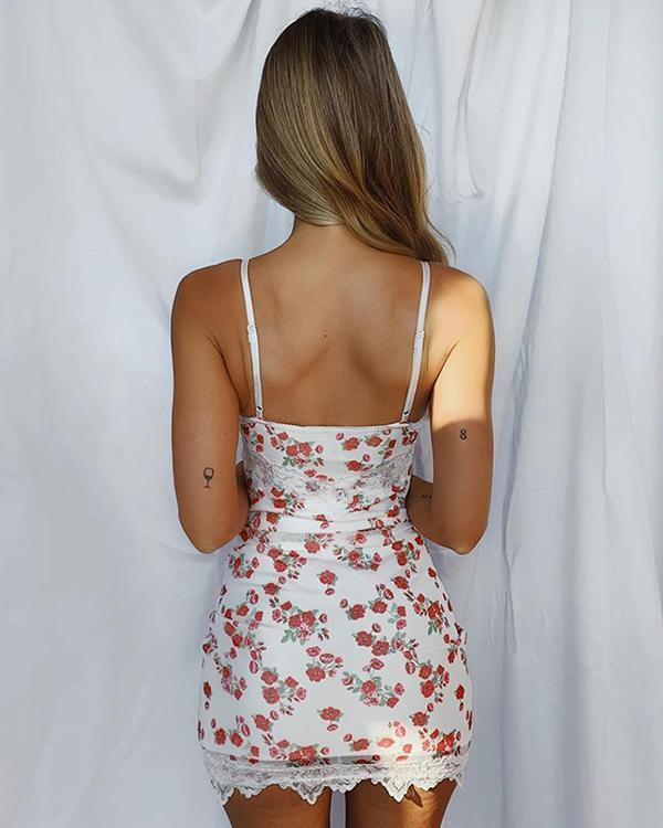 Women's Sexy Sling Print Lace Decor Mini Dress