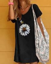 Black Printed Cotton Casual Dresses