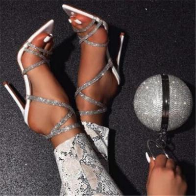 Women Fashion Pointed Rhinestone High Heels Sandals Shoes
