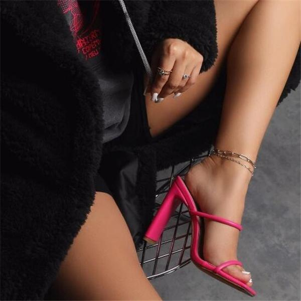 Women Pointed Hollow Out High Heel Sandals Slippers