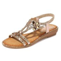 Bohemia Summer Women Bling Flower Crystal Flat Comfortable Sandals