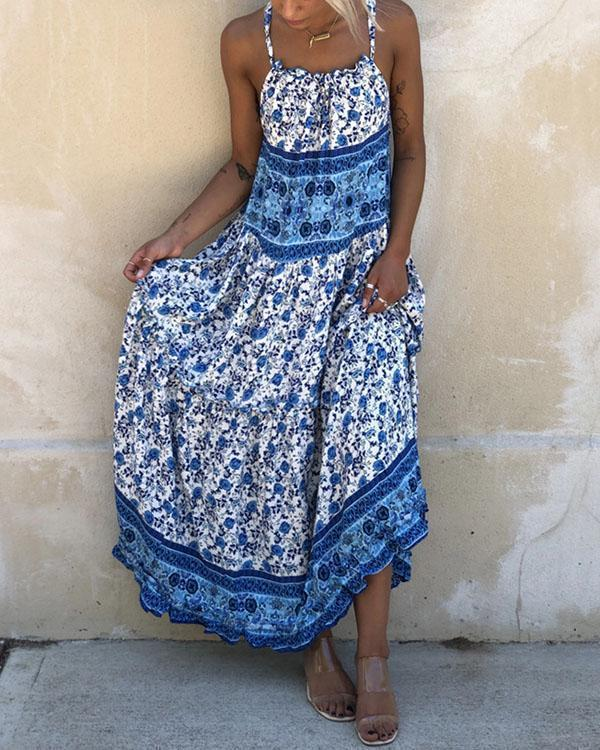 Print Sleeveless  Boho Vacation Maxi Dresses