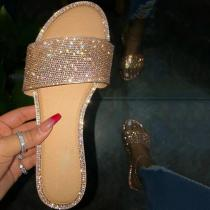 Rhinestone Flat With Slip-On Flip Flop Slippers