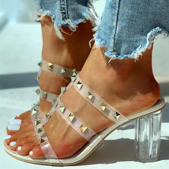 Transparent Strap Rivet Heeled Sandals
