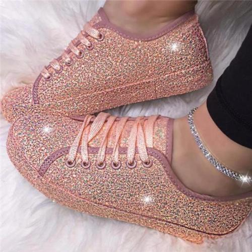 Women Casual Breathable Lace Up Bling Sneakers