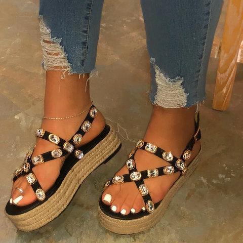 Buckle Strap Rhinestone Women Platform Espadrille Sandals