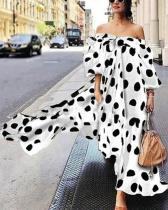 Off-the-shoulder Polka Dot Casual Boho Dress