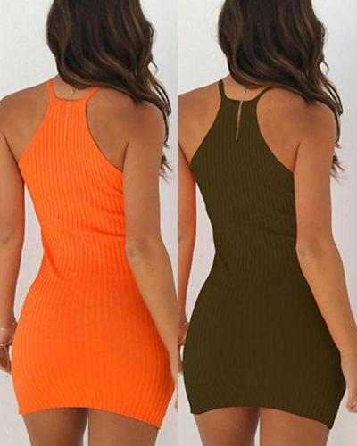 Bodycon Halter Knit Solid Mini Dress