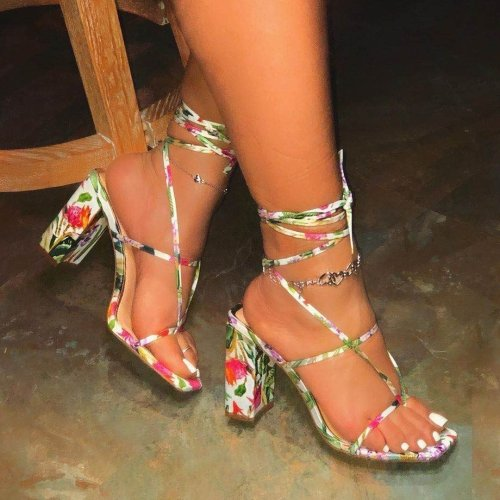 Sexy Lace Chunky Sandals