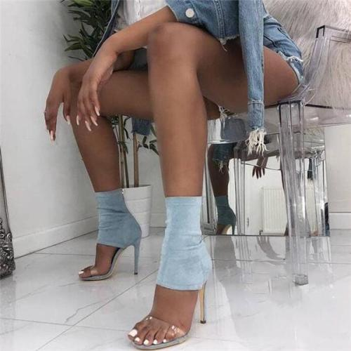 New PVC Open Toe Elastic Sandals Sexy Thin Heels Transparent Ankle Heels
