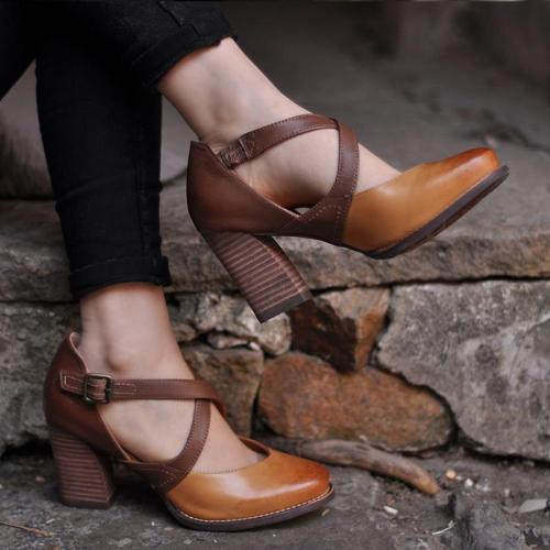 Women's high heels 8 cm with buckle Sandals
