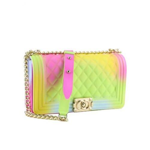 Rainbow Vertical Rhombic Bag Diagonal Bag Chain Jelly Bag