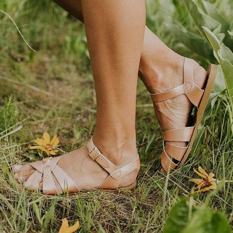 Summer Flat Heel Adjustable Ankle Strap Water-proof Sandals