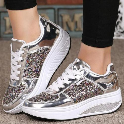 Low-Cut Upper Rhinestone Lace-Up Sneakers