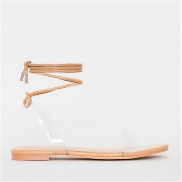 Clear Croc Print Lace Up Flat Sandals
