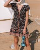 Multicolor Short Sleeve Printed Casual Cotton Dresses