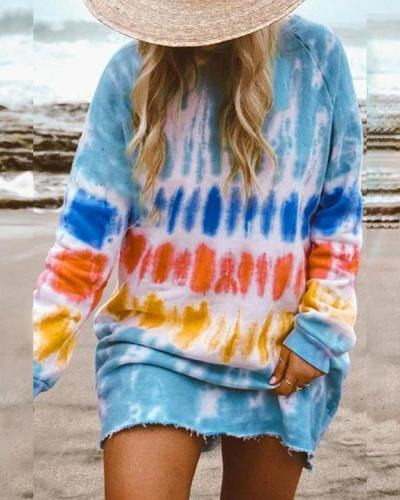 Casual Long-sleeve Loose Home Sweatshirt Mini Dresses