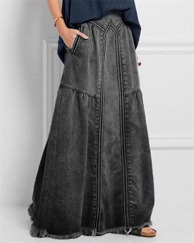 Blue Basic Plain Denim Shift Skirts