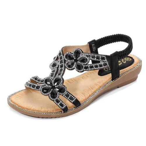 Bohemia Summer Ladies Bling Flower Crystal Flat Comfortable Sandals