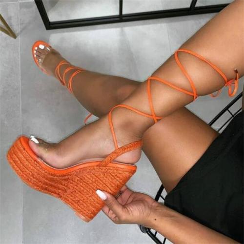 Women Lace-Up Party Platform Sandals