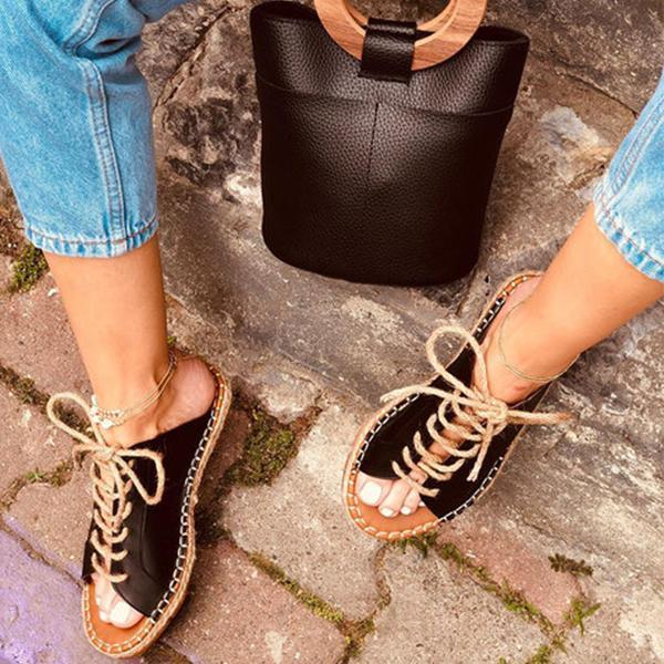 Women Casual Summer Lace Up Slide Sandals