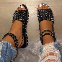 Platform Line-Style Buckle Open Toe Rivet Sandals